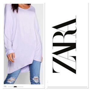 Zara Essential Long Length top oversized Sz XL
